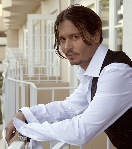 Johnny Depp in a white shirt